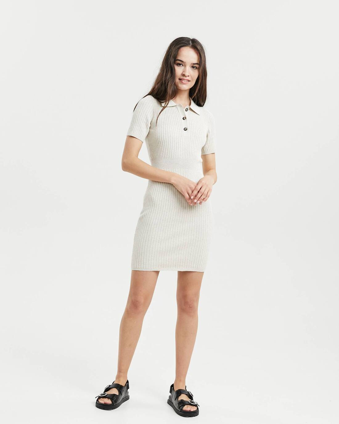 Knit polo dress