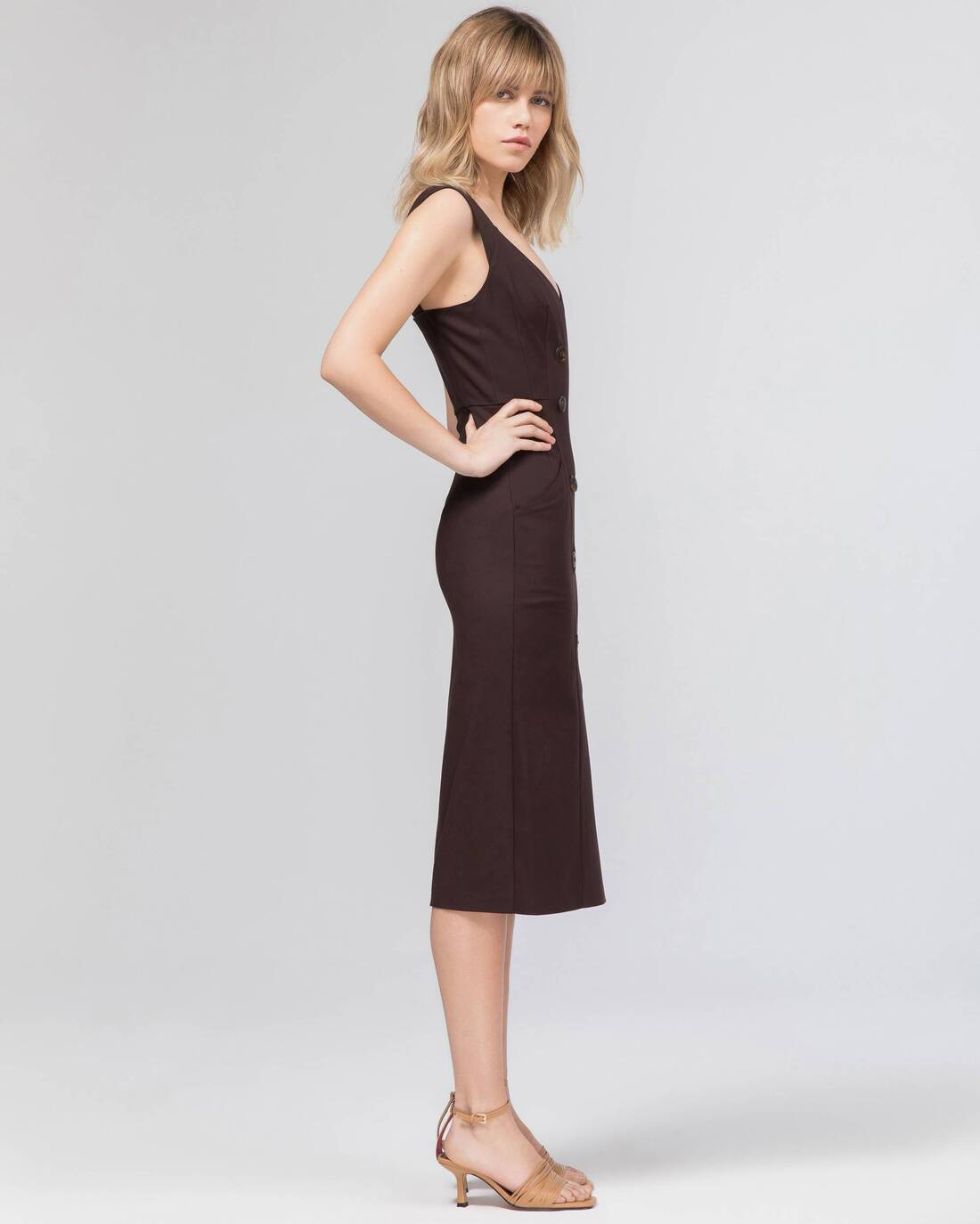 Double-breasted dress with triangular neckline
