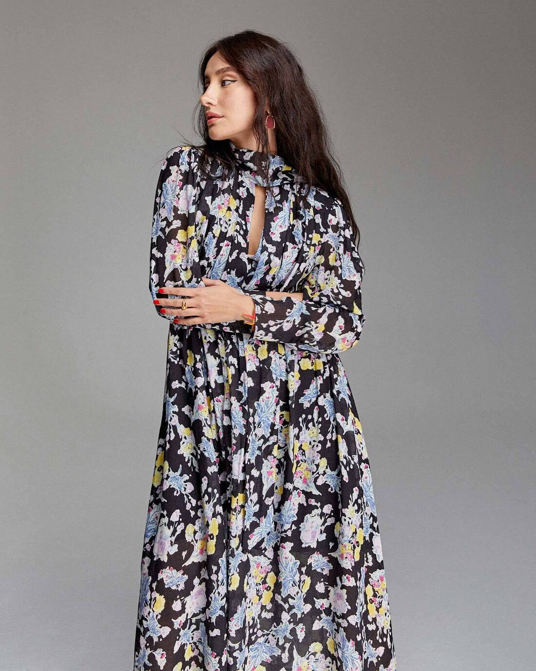 Printed ruched maxi dress