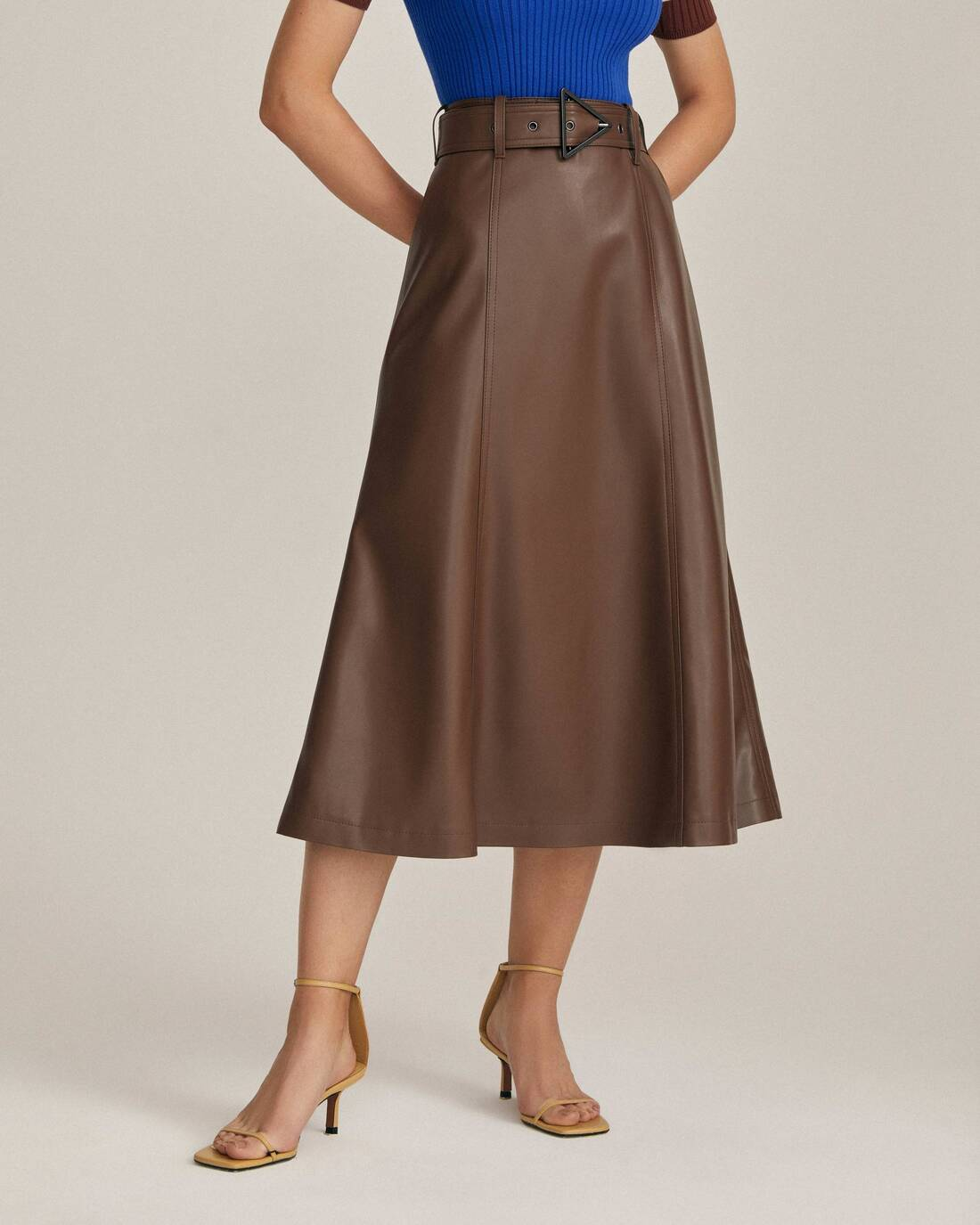 Flared skirt with from eco-leather