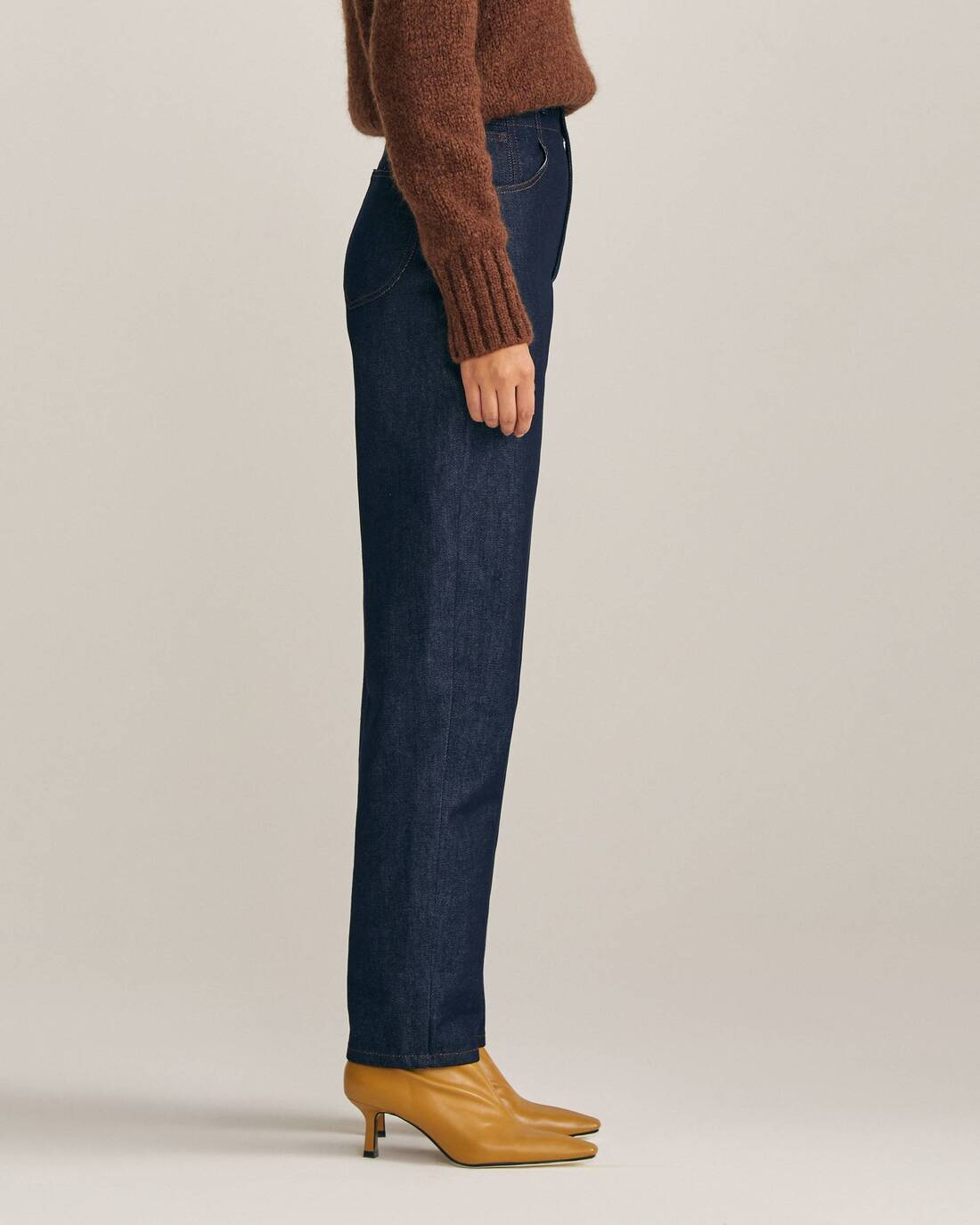 High-waisted cigarette-style trousers