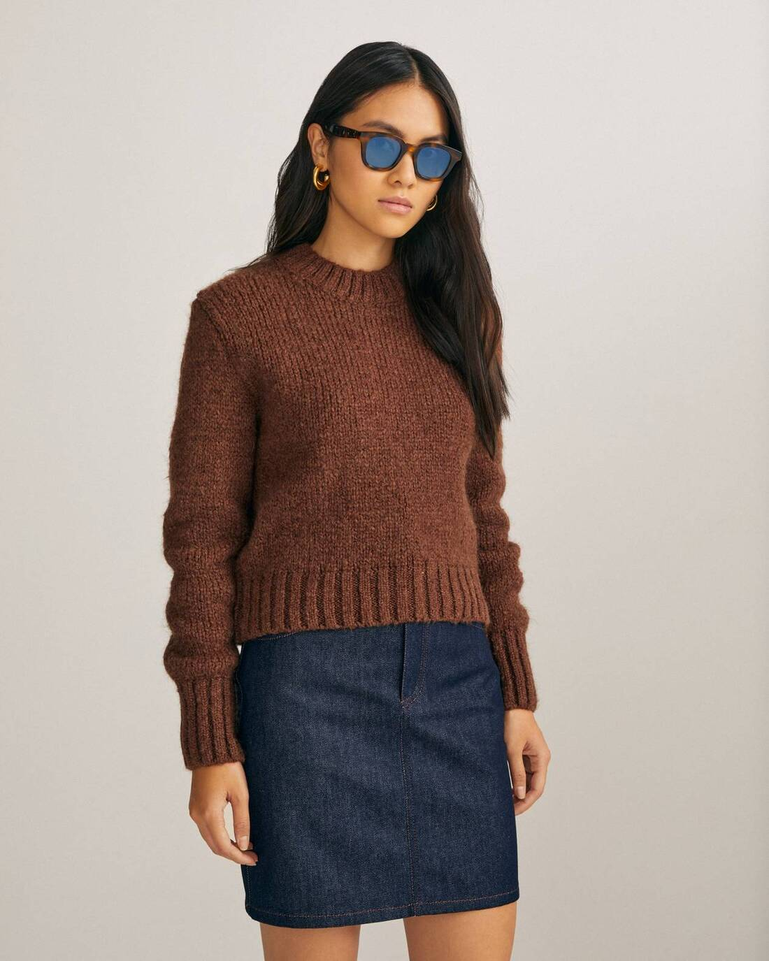 Cropped mohair sweater