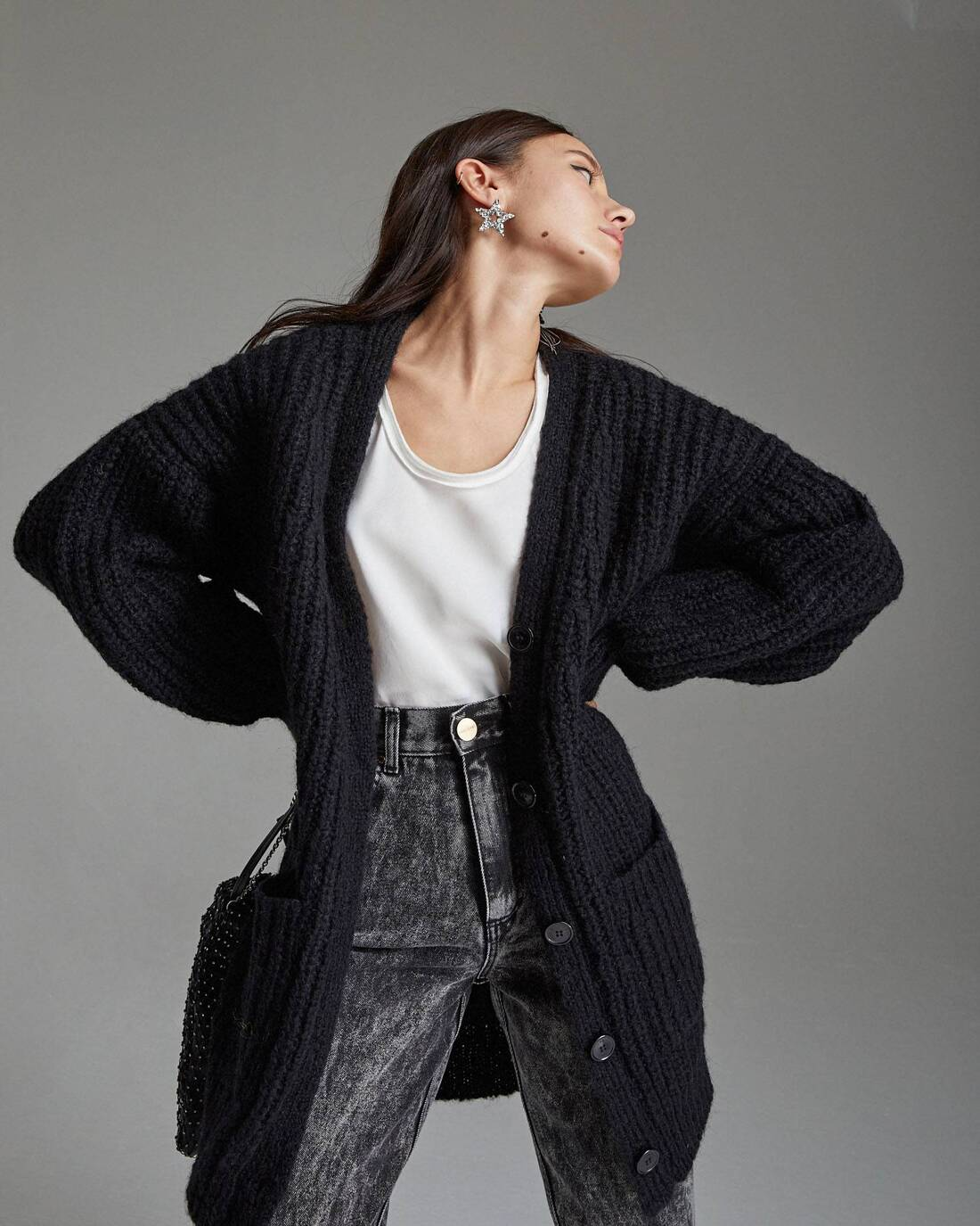 Elongated knit cardigan
