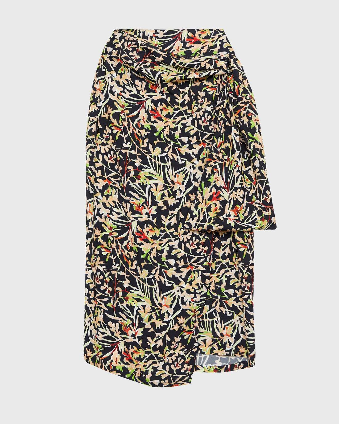 Wrap effect midi skirt