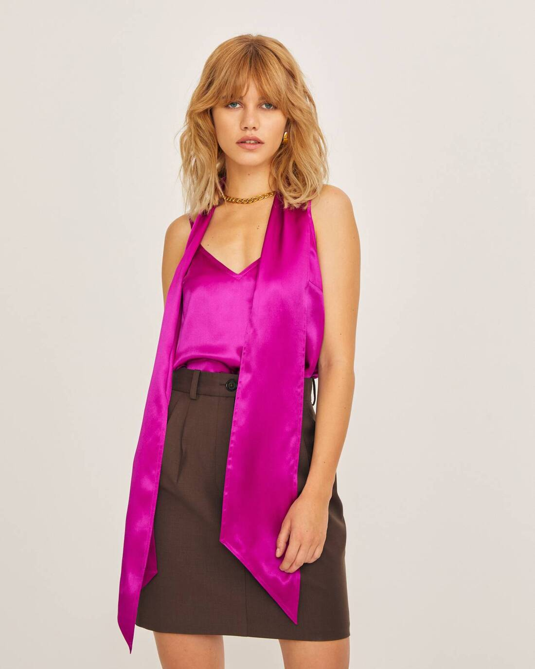 Silk top with neck tie