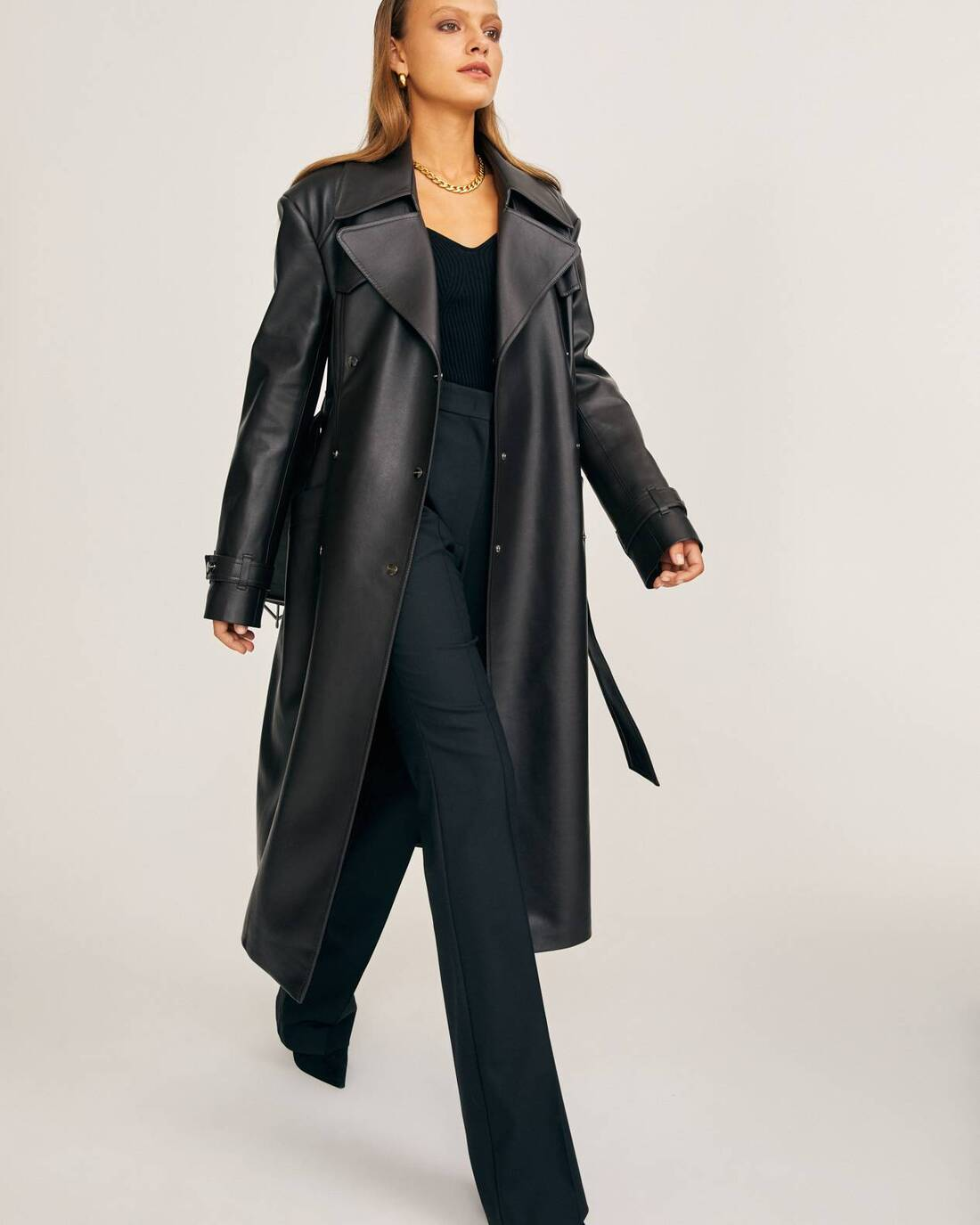 Textured double-breasted faux leather trench coat
