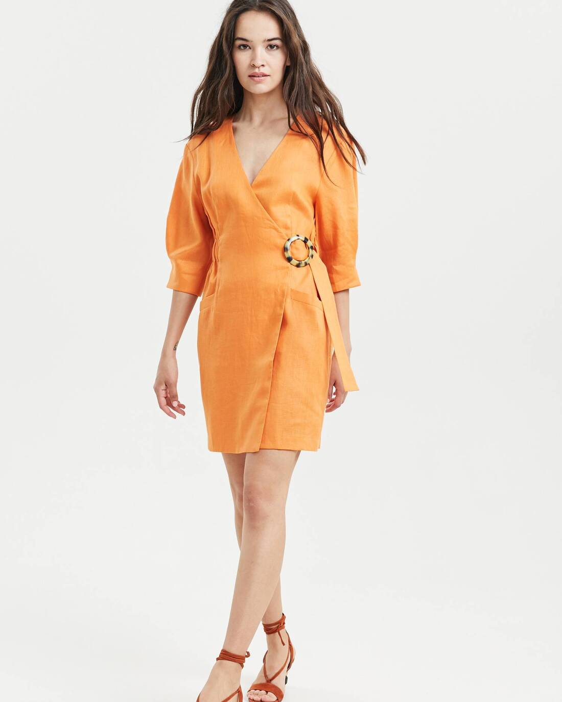 Linen stretch waist wrap dress
