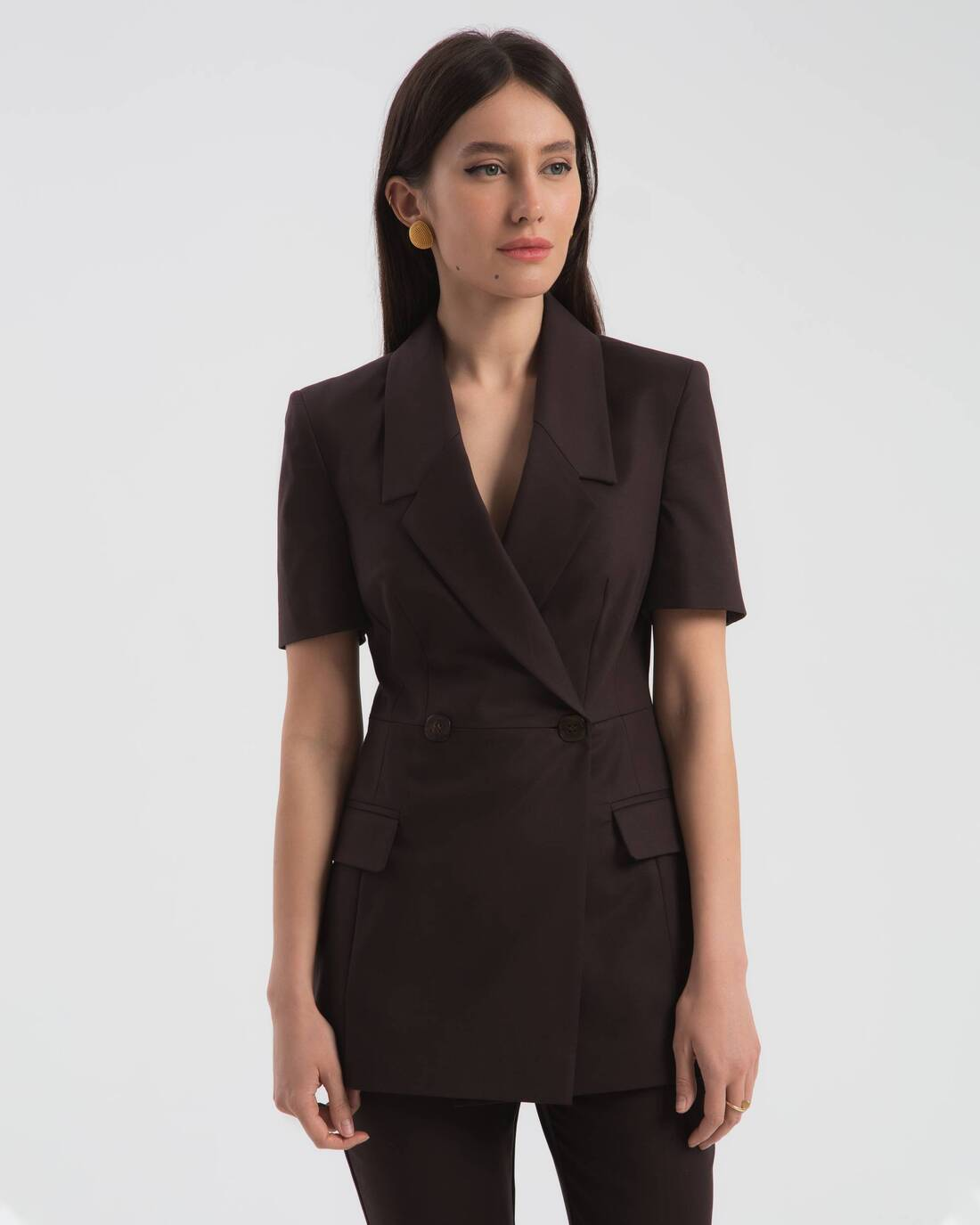 Double-breasted short-sleeve jacket