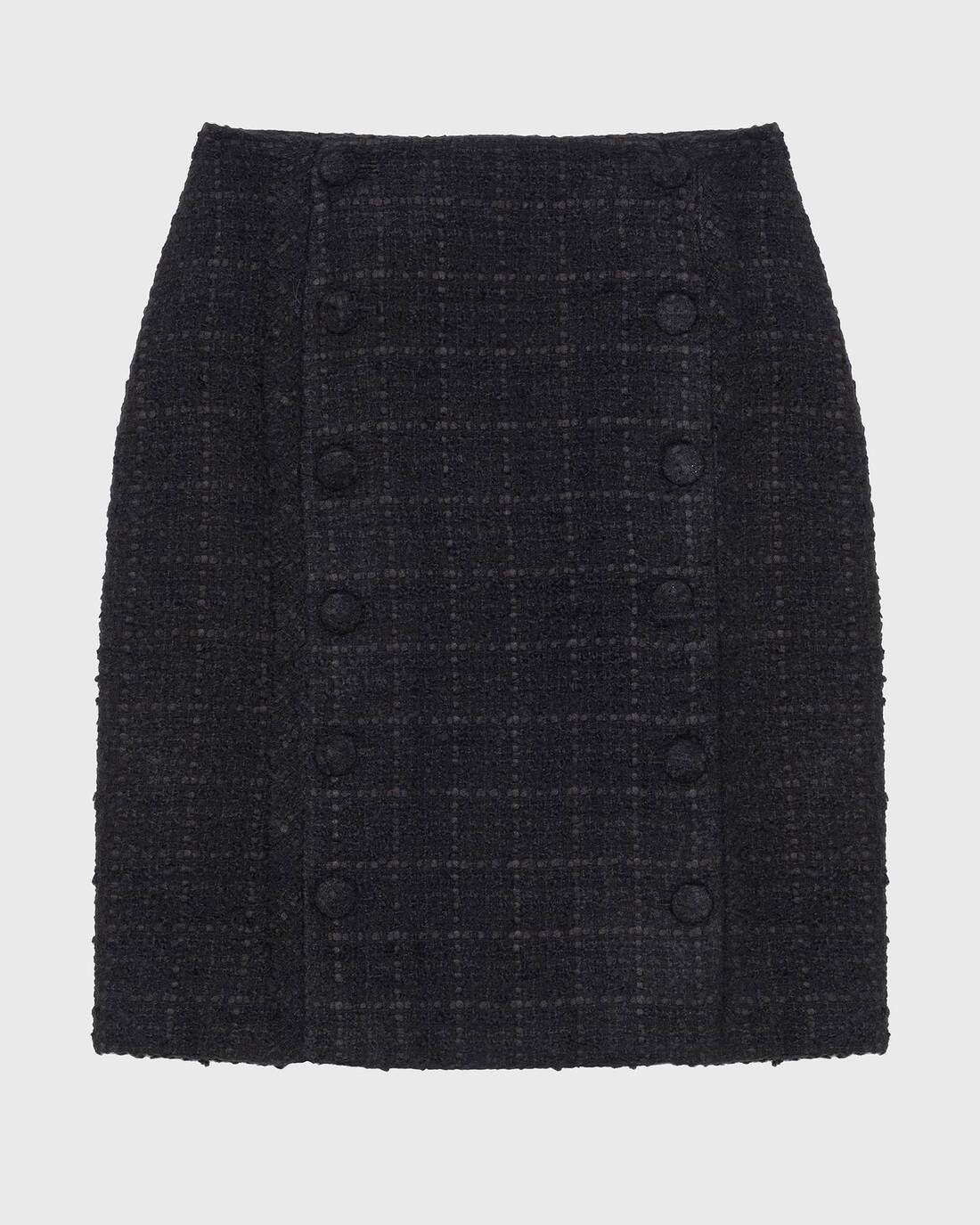 Tweed boucle button skirt