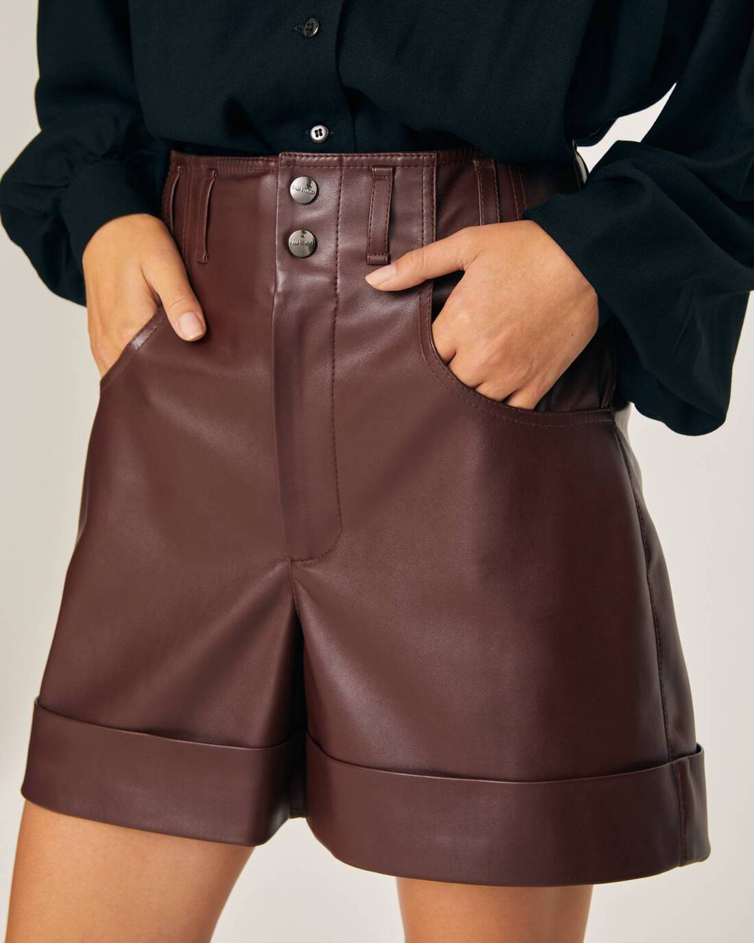 Eco-leather pintuck shorts