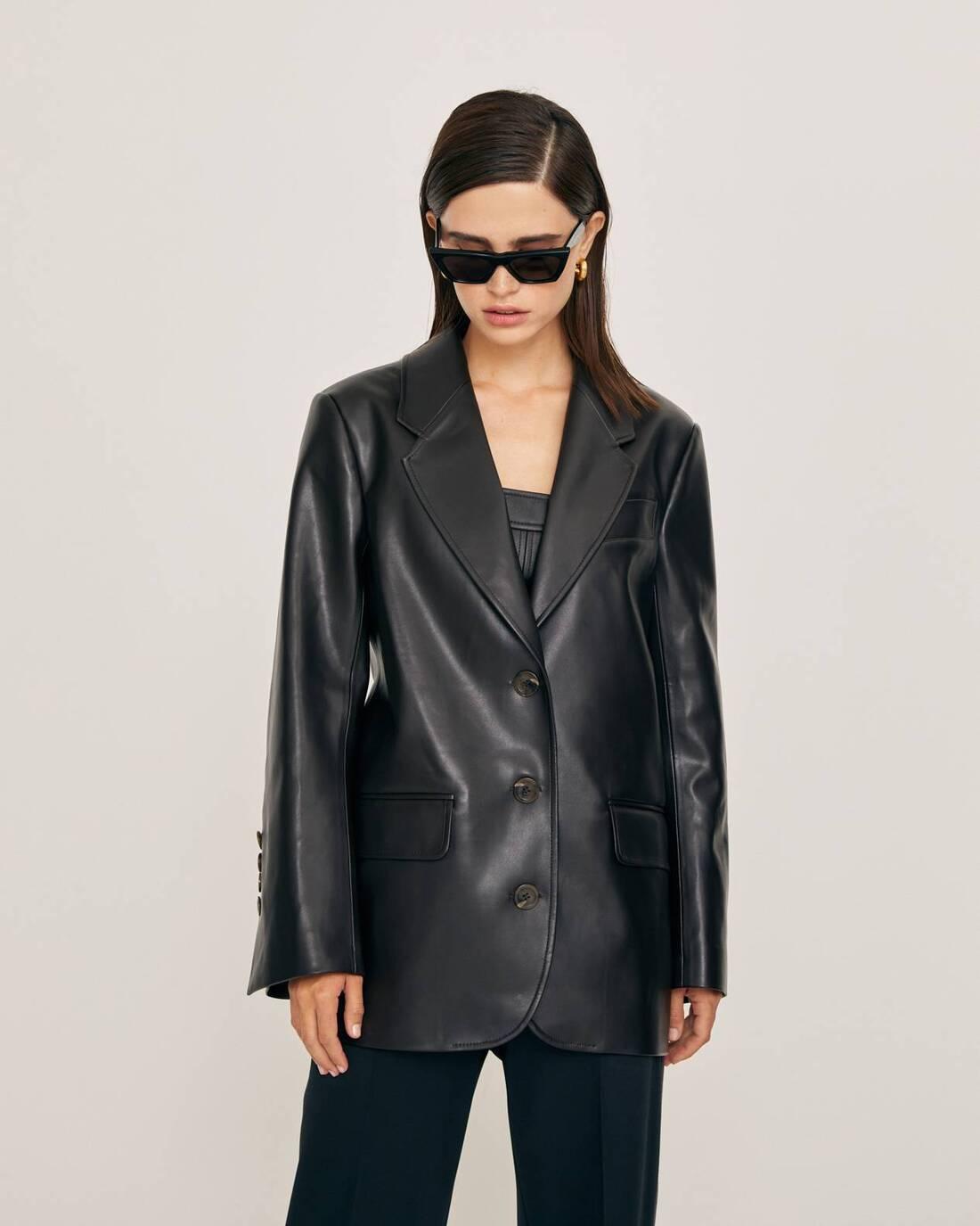 Straight cut eco-leather jacket