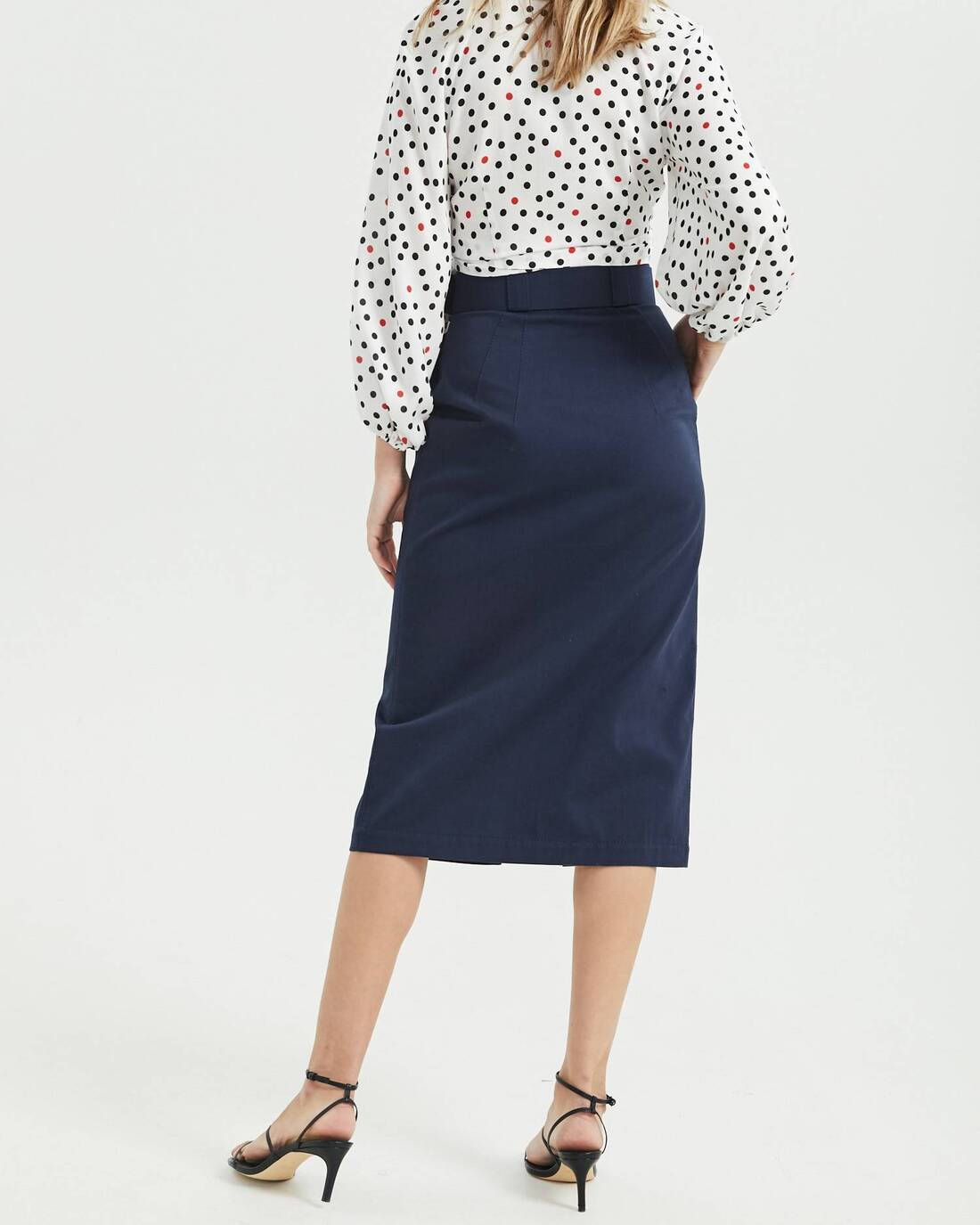 Midi skirt with decorative stitching