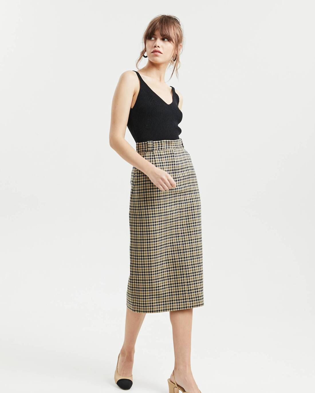 Checked midi skirt