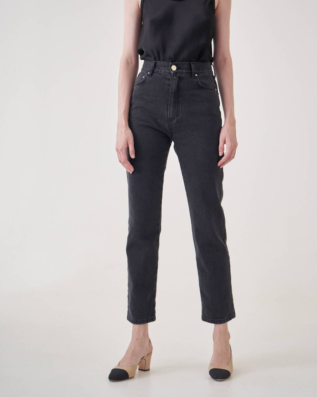 Cigarette jeans with decorative seams