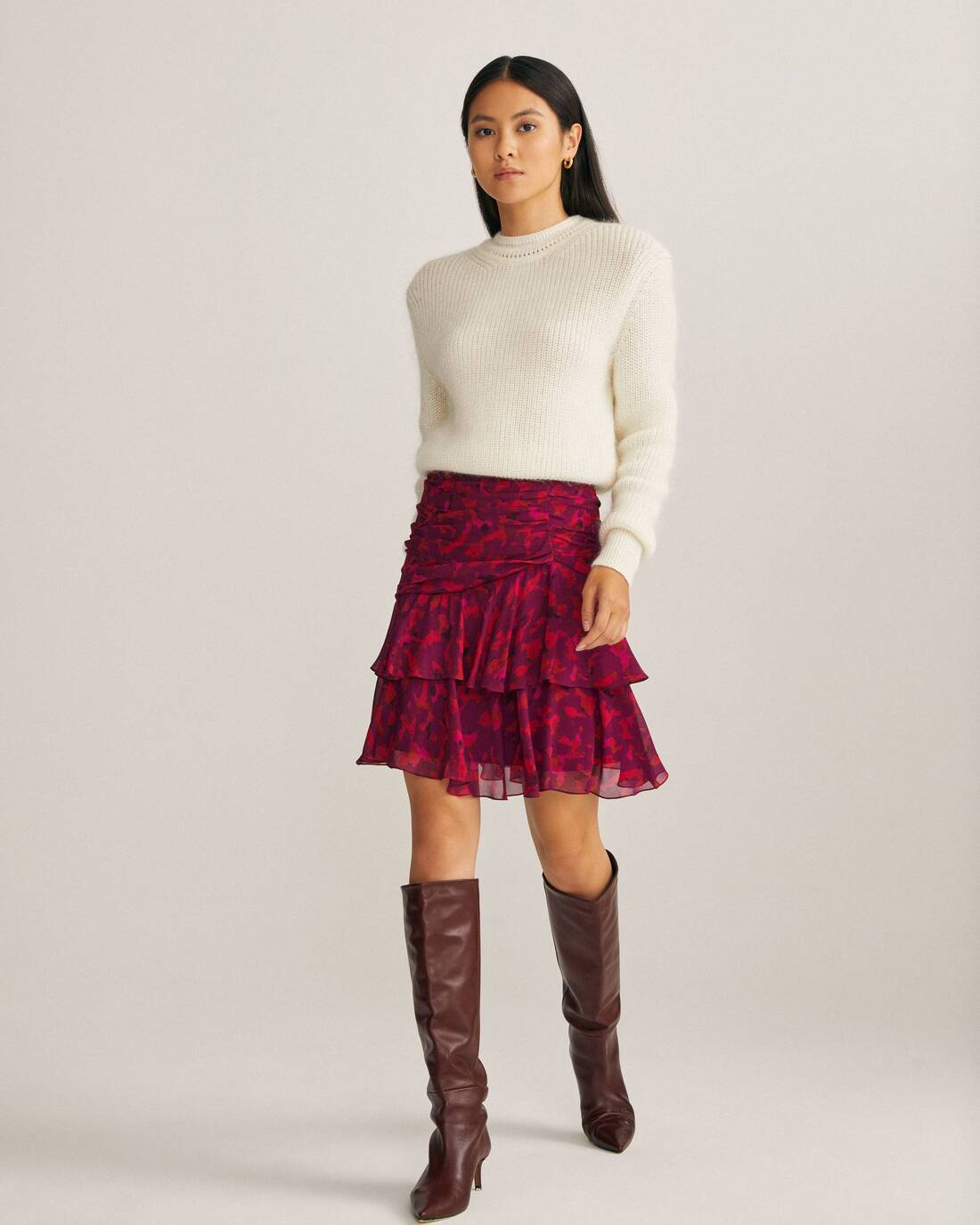 Printed mini skirt with ruffles