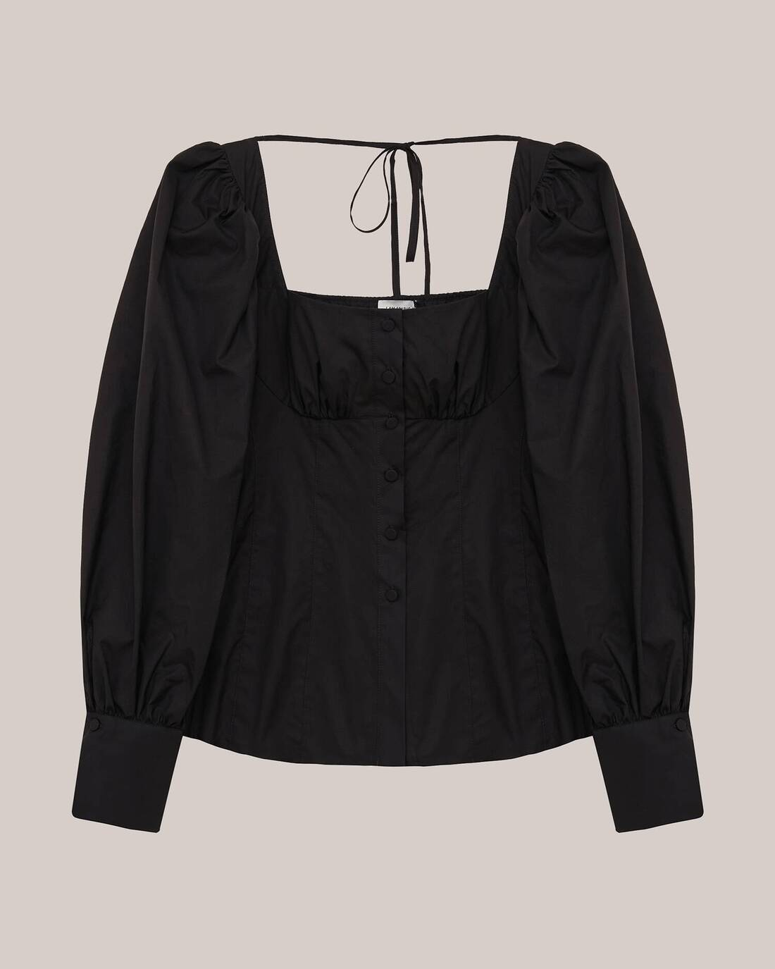 Cotton blouse with corset lines