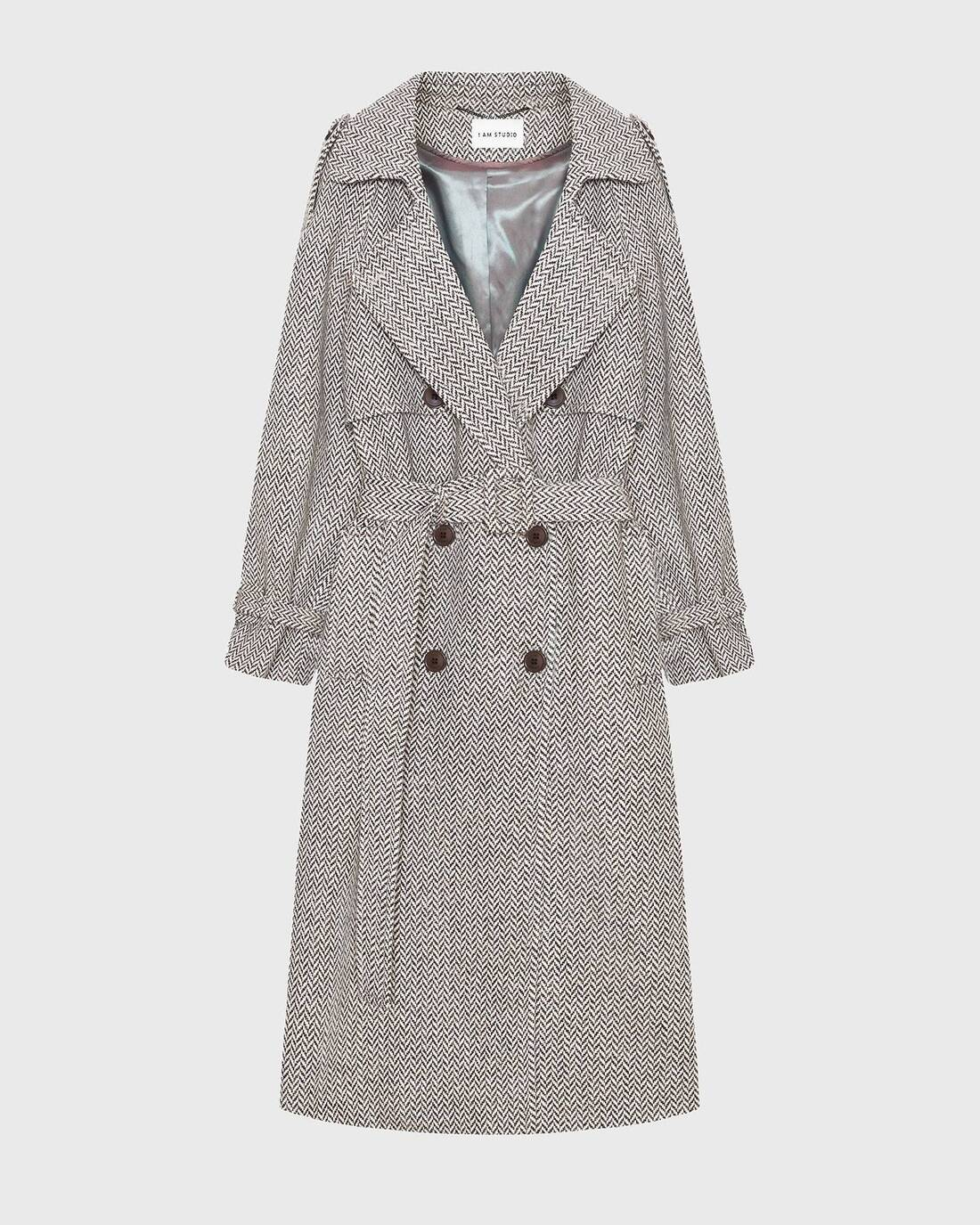 Double-breasted tweed trenchcoat