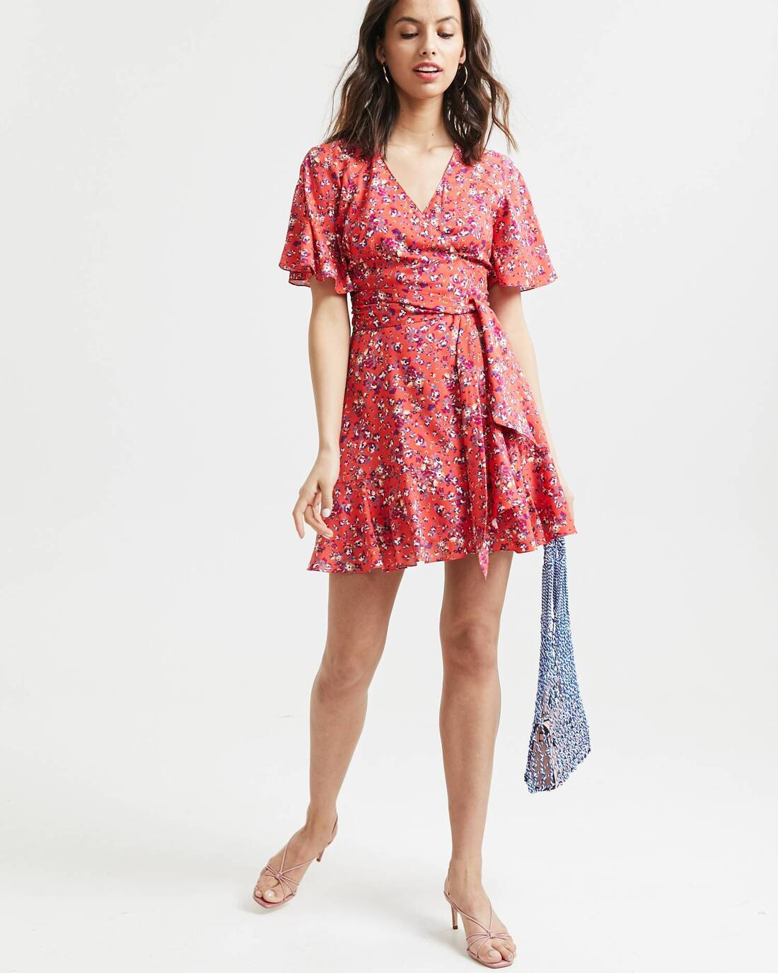 Printed mini dress with ruffles