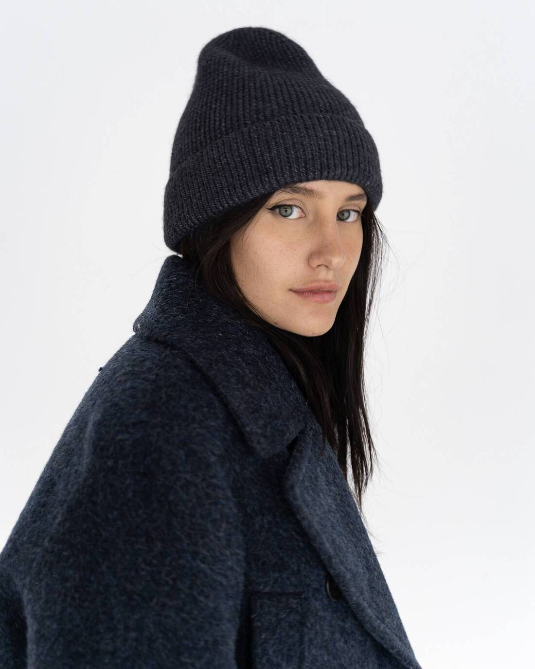 Thin knit wool beanie