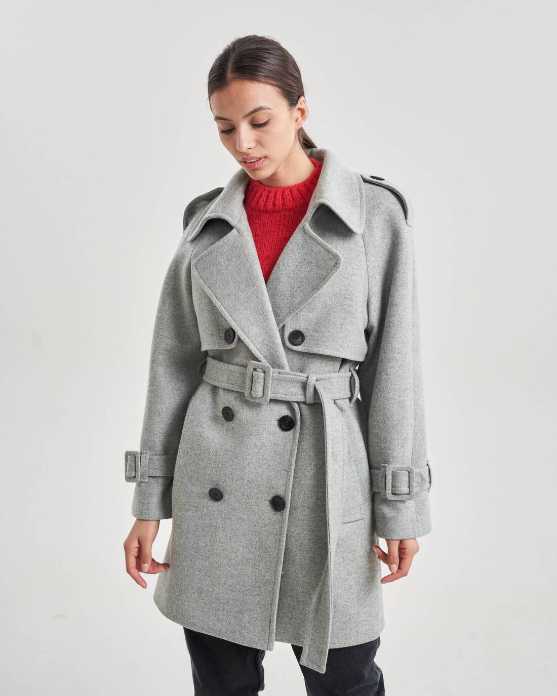 Cropped belted trenchcoat