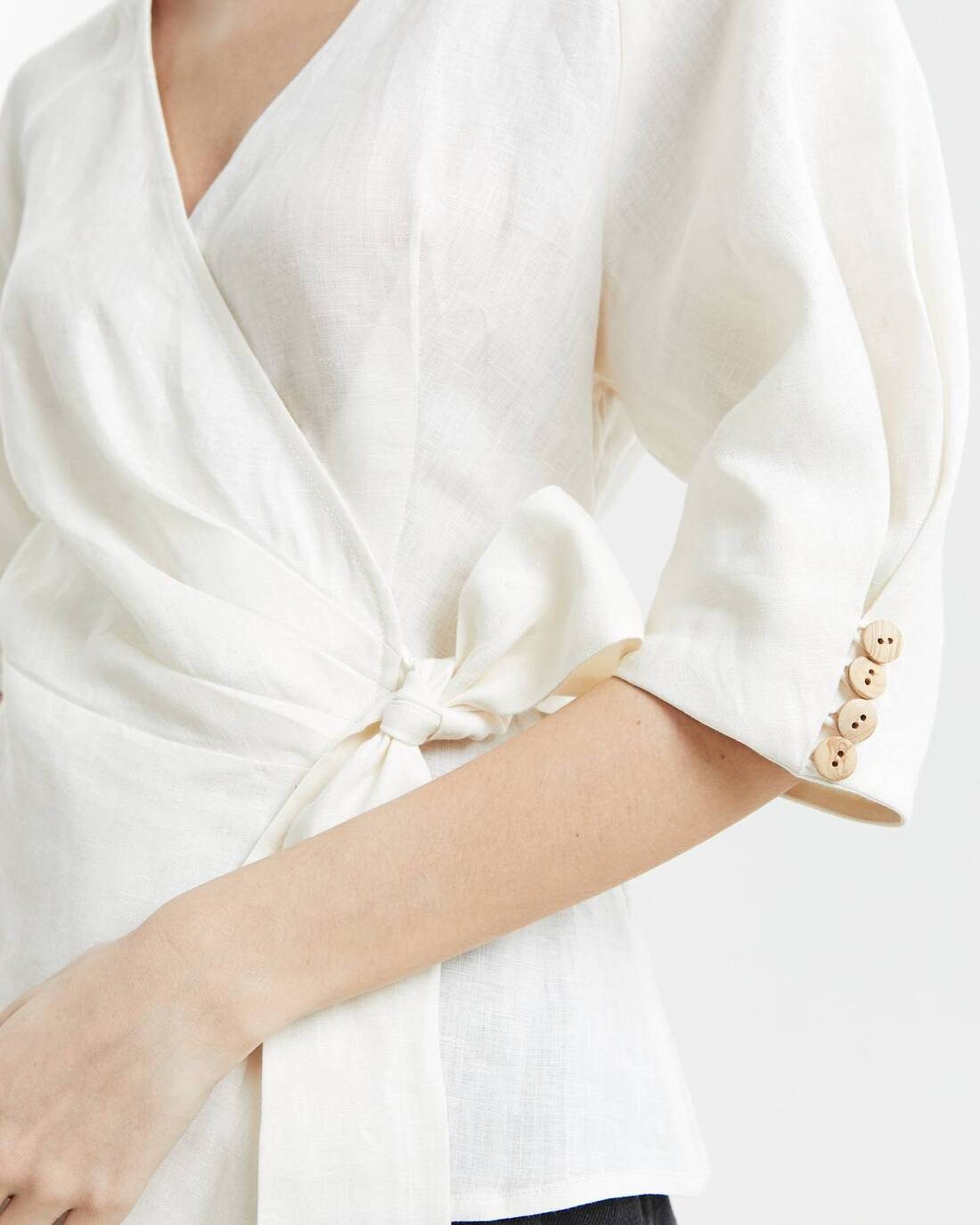 Linen wrap blouse