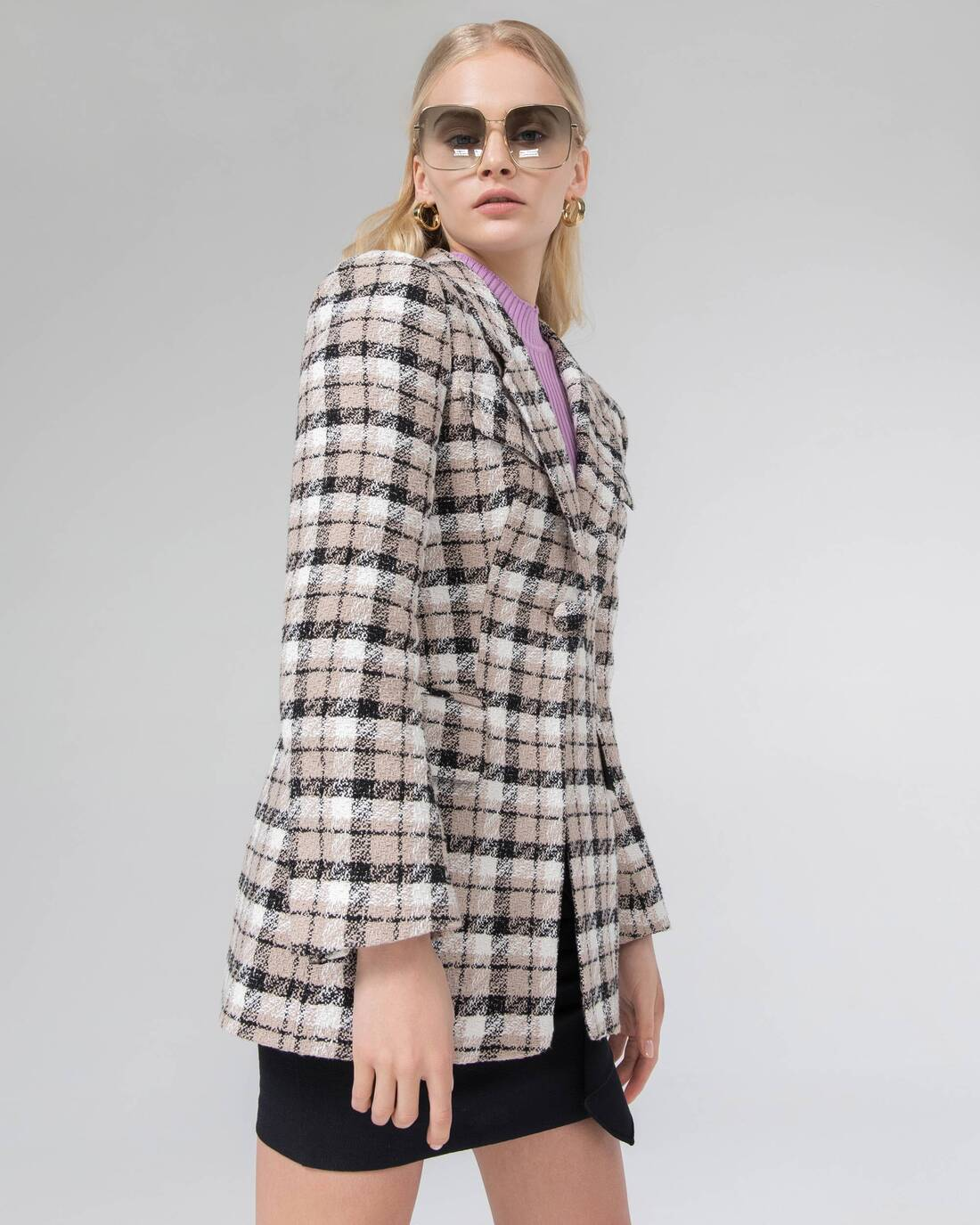 Fitted check print boucle blazer