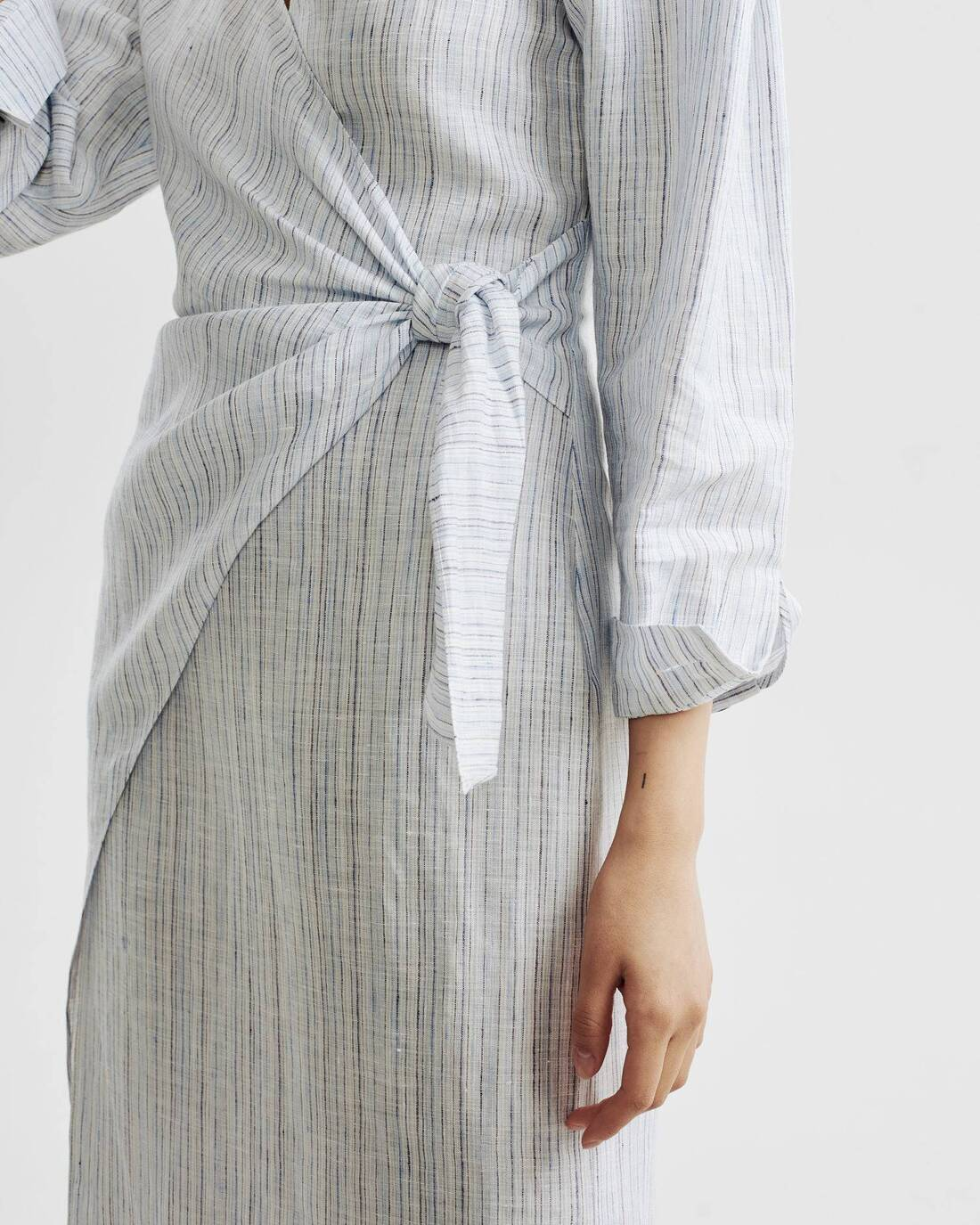 Fitted wrap shirt dress