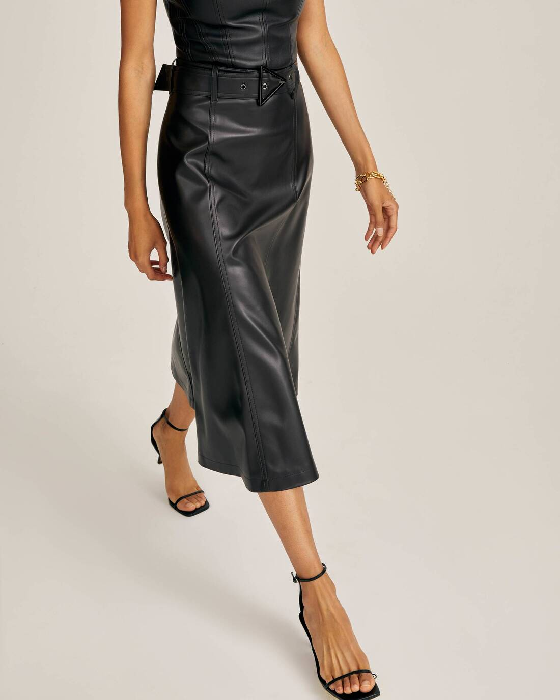 Flared skirt from eco-leather